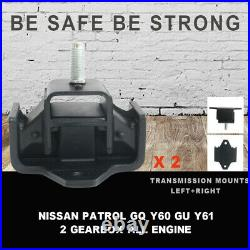 2X Gearbox Transmission Engine Mounts Fit For Patrol GQ Y60 GU Y61 2 Left&Right