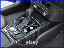 4PCS Carbon Fiber Inner Gear Shift Box Panel Cover Trim Fit For Audi A6 C7 12-18