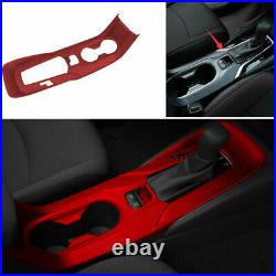 Gear Box Shift & Cup Holder Panel Cover Trim Red For 2019-2021 Toyota Corolla