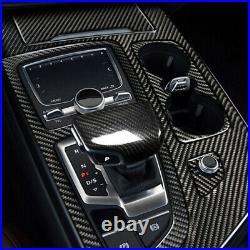 Real Carbon Fiber Gear Shift Box Panel Cover Trim Fit For Audi Q7 SQ7 2016-2018
