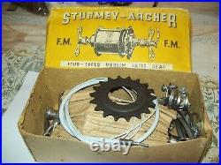 Sturmey Archer FM 4 Speed Medium Ratio Hub Gear NOS Boxed and c/w Fittings